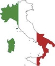 Map of Italy with Italian flag superimposed