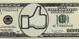 A dollar bill with Facebook thumbs up in it.