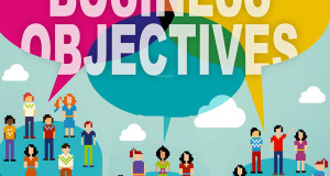 Social media speech balloons with :Business Objectives""