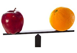 weighing an apple against an orange
